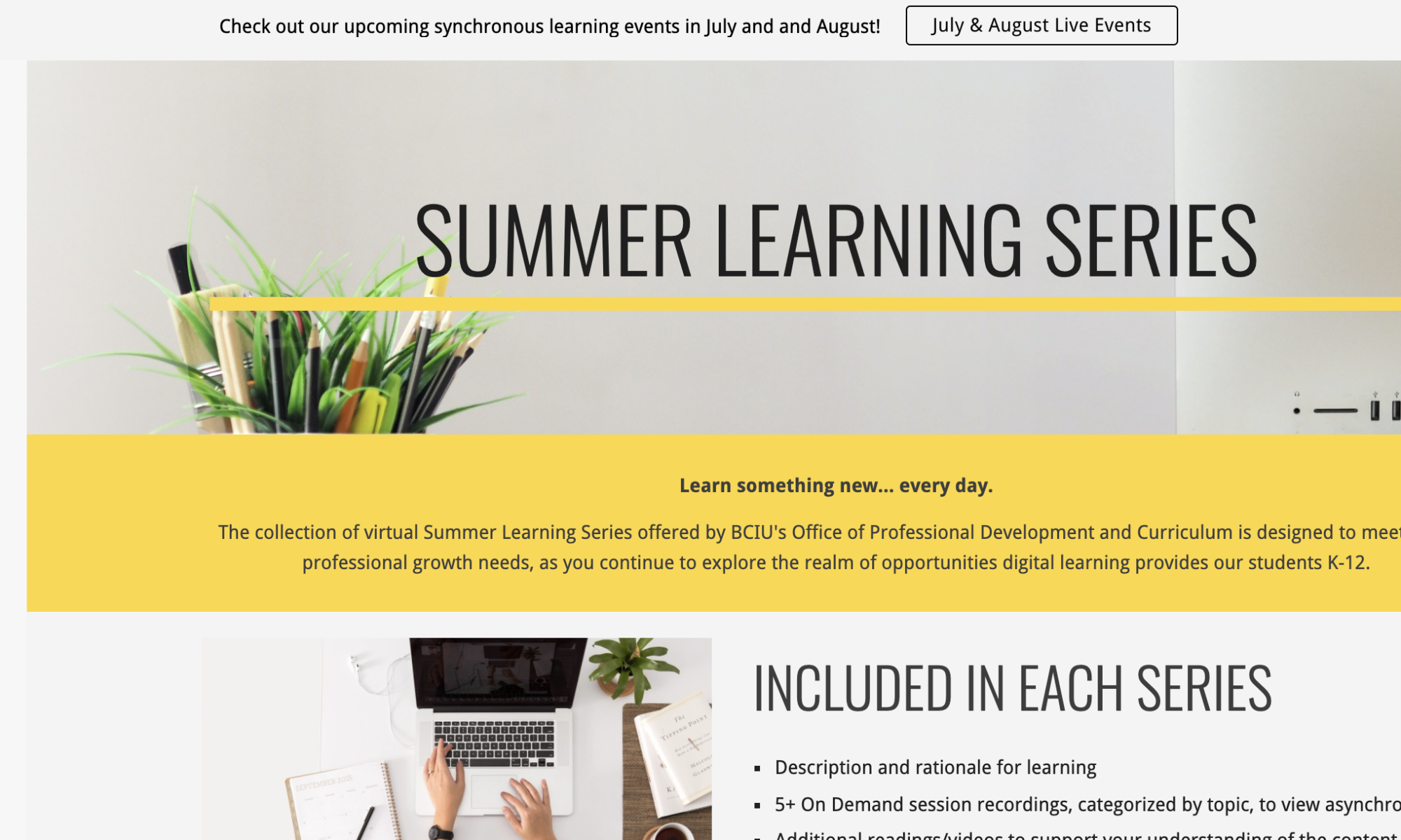 Summer Series website screenshot